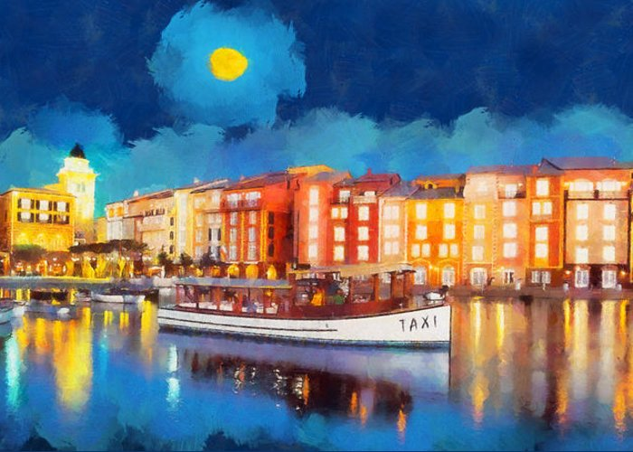 Rossidis Greeting Card featuring the painting Portofino By Night by George Rossidis