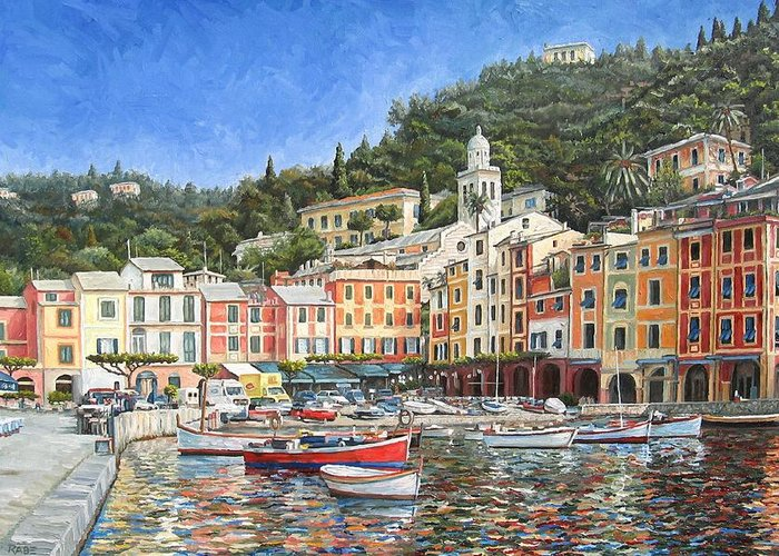 Portofino Greeting Card featuring the painting Portofino Italy by Mike Rabe