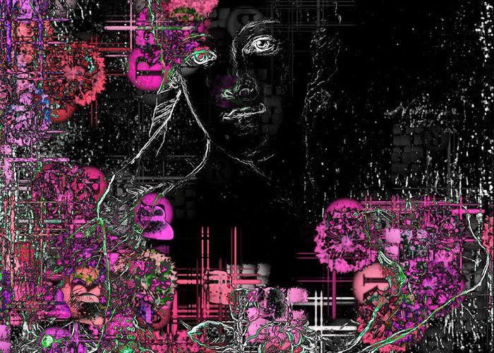 Black Digital Art Greeting Card featuring the digital art Portrait In Black - S01-02b by Variance Collections