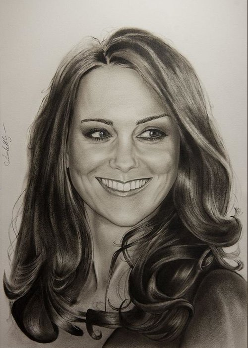 Portrait Greeting Card featuring the painting Portrait Kate Middleton by Natalya Aliyeva