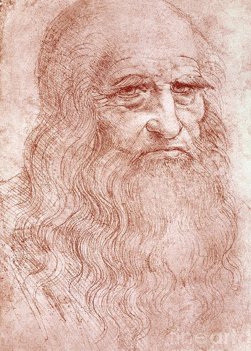 Old Greeting Card featuring the painting Portrait Of A Bearded Man by Leonardo da Vinci