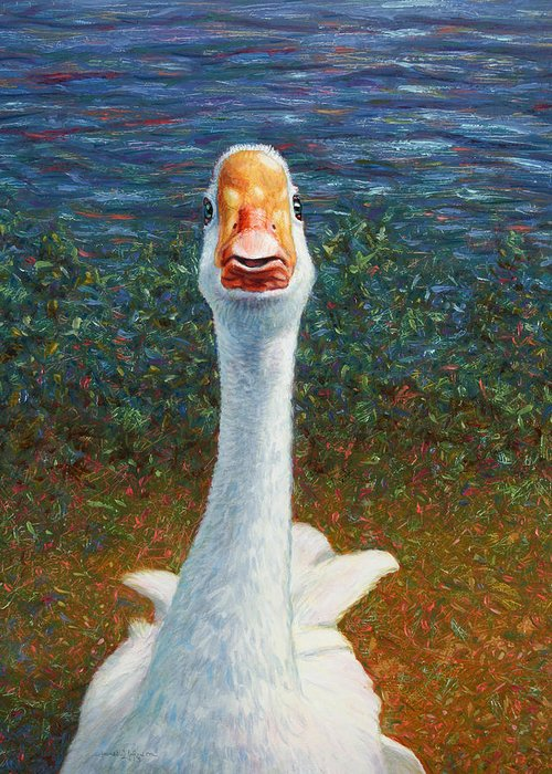 Goose Greeting Card featuring the painting Portrait Of A Goose by James W Johnson