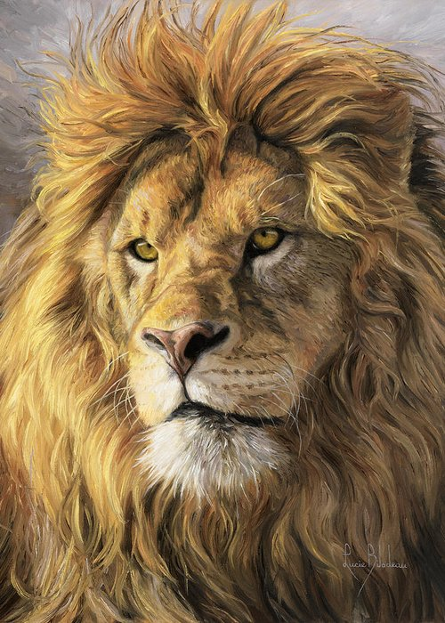 Lion Greeting Card featuring the painting Portrait Of A Lion by Lucie Bilodeau