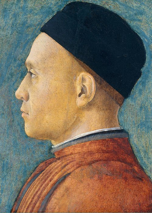 Profile Greeting Card featuring the painting Portrait Of A Man by Andrea Mantegna