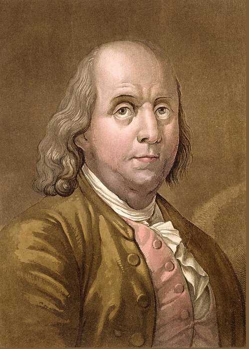 American Politician Greeting Card featuring the drawing Portrait Of Benjamin Franklin , From Le by Gallo Gallina