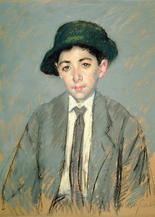 Boy; Child; Half Length; Hat; Tie Greeting Card featuring the painting Portrait Of Charles Dikran Kelekian by Mary Stevenson Cassatt