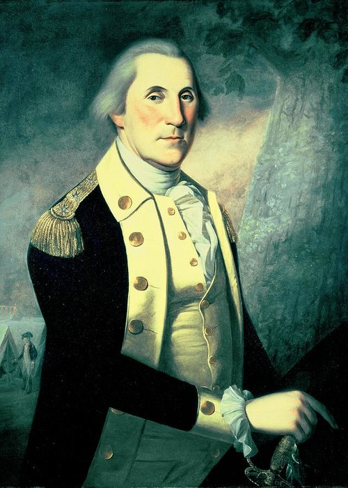 President Greeting Card featuring the painting Portrait Of George Washington by James the Elder Peale