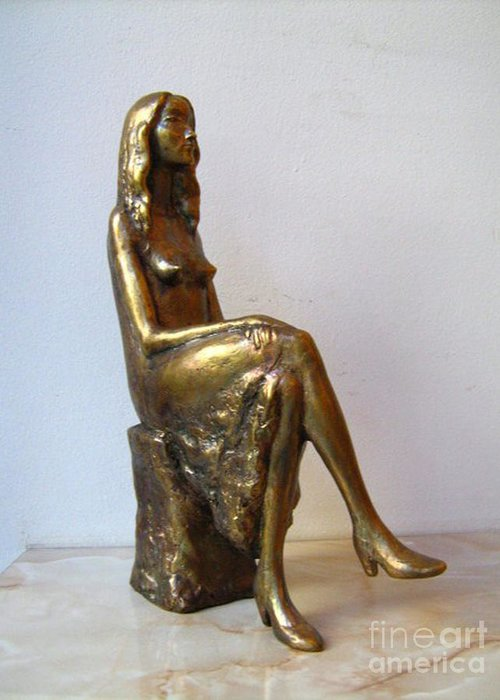 Nikola Litchkov Greeting Card featuring the sculpture Portrait Of Girl by Nikola Litchkov