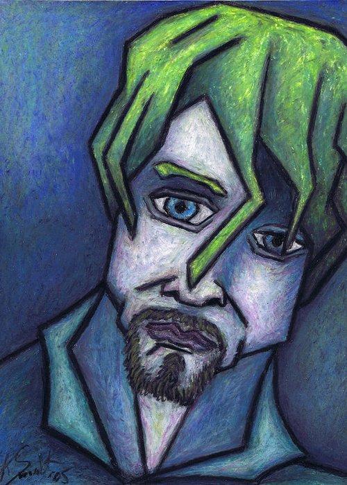 Kurt Cobain Greeting Card featuring the painting Portrait Of Kurt by Kamil Swiatek
