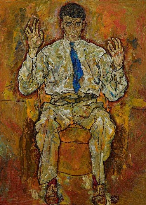 Portrait; Male; Seated; Full-length; Painting; Expressionist; Expressionistic; Expressionism; Tie; Creative; Paris Von G�tersloh; Von Gutersloh; Man; Psychological; Intense; Intensity; Egon Greeting Card featuring the painting Portrait Of Paris Von Gutersloh by Egon Schiele