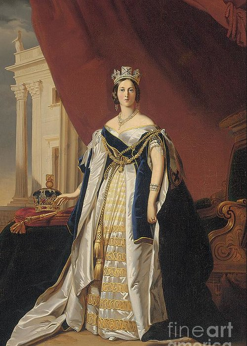 Miniature Greeting Card featuring the painting Portrait Of Queen Victoria In Coronation Robes by Franz Xaver Winterhalter