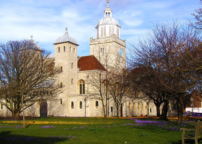 Portsmouth Cathedral Greeting Card featuring the photograph Portsmouth Cathedral At Springtime by Terri Waters