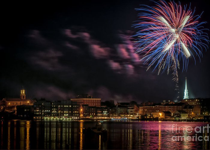 Portsmouth Greeting Card featuring the photograph Portsmouth Nh Fireworks 2013 by Scott Thorp