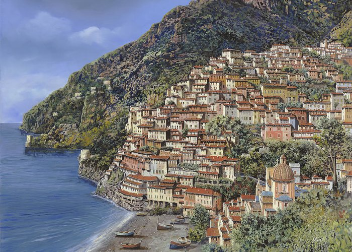 Italy Greeting Card featuring the painting Positano E La Torre Clavel by Guido Borelli
