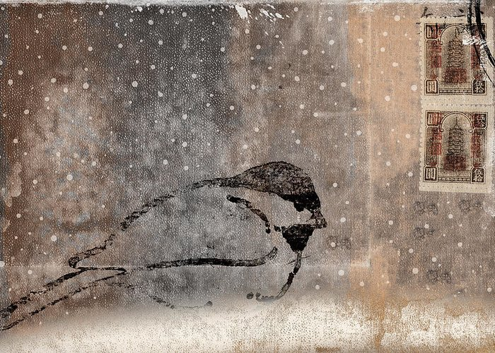Postcard Greeting Card featuring the photograph Postcard Chickadee In The Snow by Carol Leigh
