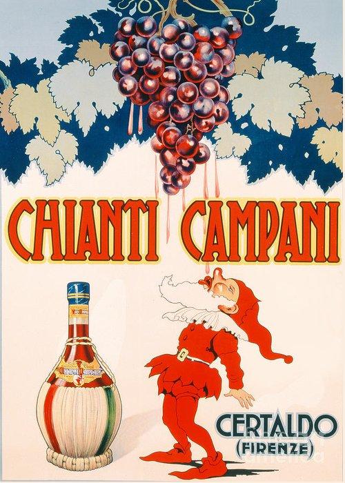 Poster Advertising Chianti Campani Greeting Card featuring the drawing Poster Advertising Chianti Campani by Necchi