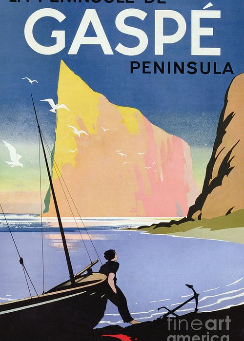 Canadian; Tourism; Advert; Advertisement; Publicity; Seaside; Landscape; Dramatic; Coast; Coastal; Coastline; Sailing; Boat; Sailor; Cliff; Seagulls; Landmark; Vintage Poster; St; Lawrence Seaway Greeting Card featuring the drawing Poster Advertising The Gaspe Peninsula Quebec Canada by Canadian School