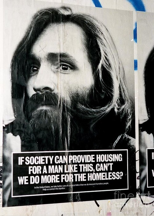 Charles Manson Greeting Card featuring the photograph Poster Boy Charlie by Ed Weidman