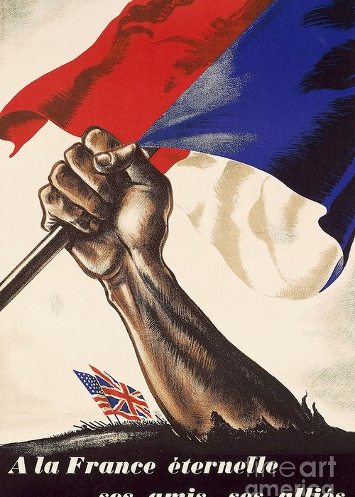 Illustrations; History; Europe; France; Flag; Poster; Victory; Centuries; Twentieth Century; Twentieth Century Greeting Card featuring the drawing Poster For Liberation Of France From World War II 1944 by Anonymous