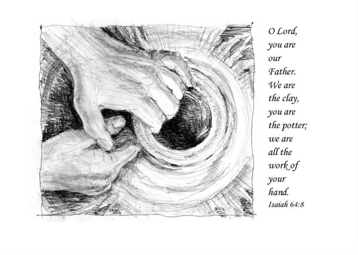 Pen And Ink Drawing Greeting Card featuring the drawing Potter And Clay by Janet King
