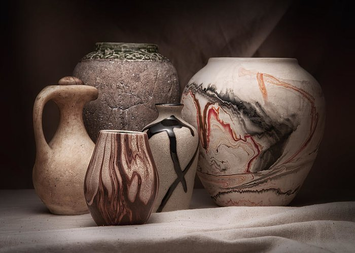 Amphora Greeting Card featuring the photograph Pottery Still Life by Tom Mc Nemar