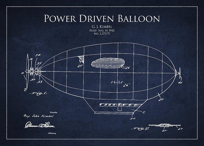 Zeppelin Patent Greeting Card featuring the drawing Power Driven Balloon Patent by Aged Pixel