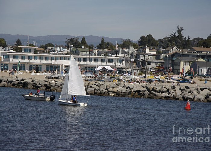 Seascape Greeting Card featuring the photograph pr 193 - The Sailboat by Chris Berry