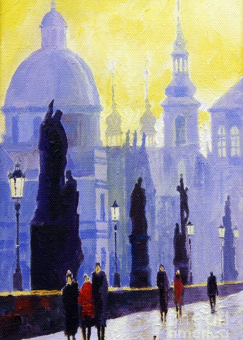 Oil On Canvas Greeting Card featuring the painting Prague Charles Bridge 03 by Yuriy Shevchuk