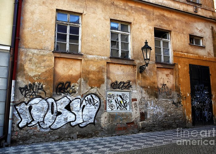 Prague Graffiti Scene Greeting Card featuring the photograph Prague Graffiti Scene by John Rizzuto
