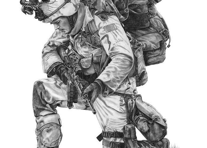Soldier Greeting Card featuring the drawing Praying Soldier by Murphy Elliott