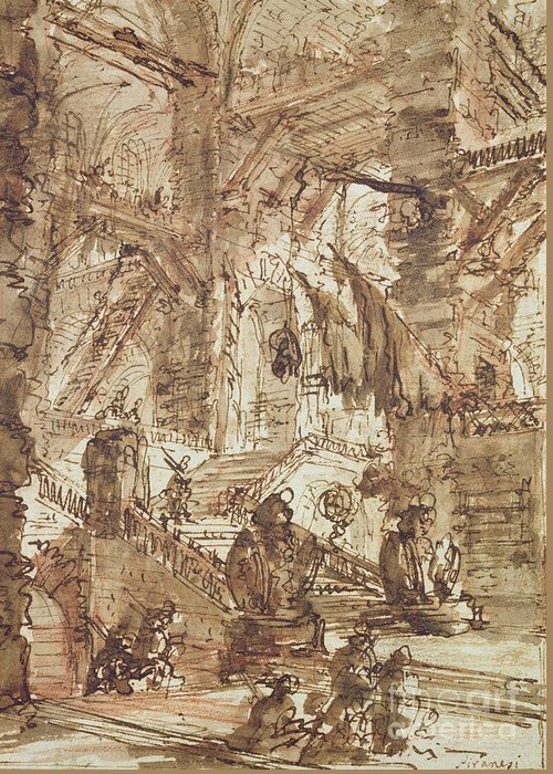 Prison; Gaol; Jail; Incarceration; Dungeon; Imaginary; Fantastic Greeting Card featuring the drawing Preparatory Drawing For Plate Number Viii Of The Carceri Al'invenzione Series by Giovanni Battista Piranesi
