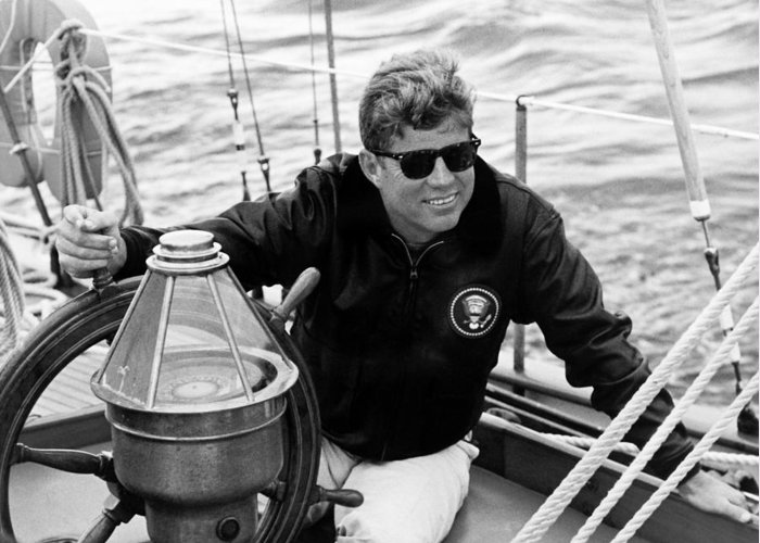Jfk Greeting Card featuring the photograph President John Kennedy Sailing by War Is Hell Store
