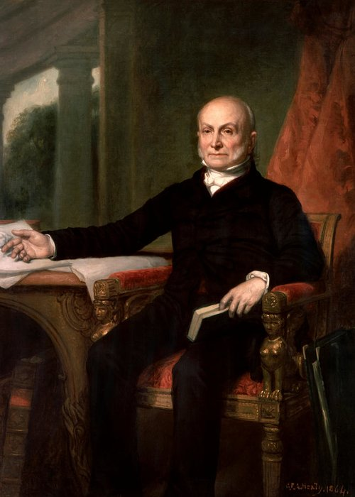 John Quincy Adams Greeting Card featuring the painting President John Quincy Adams by War Is Hell Store