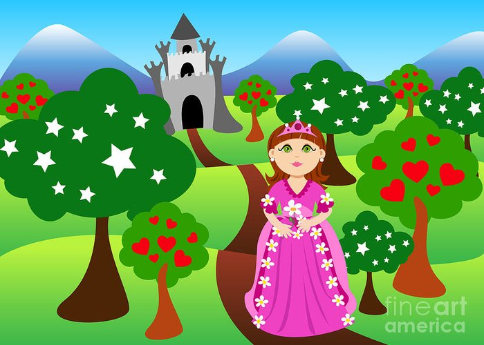 Cartoon Greeting Card featuring the digital art Princess And Castle Landscape by Sylvie Bouchard