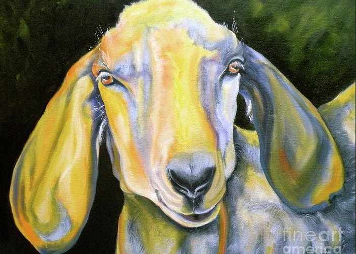 Goat Greeting Card featuring the painting Prize Nubian Goat by Susan A Becker