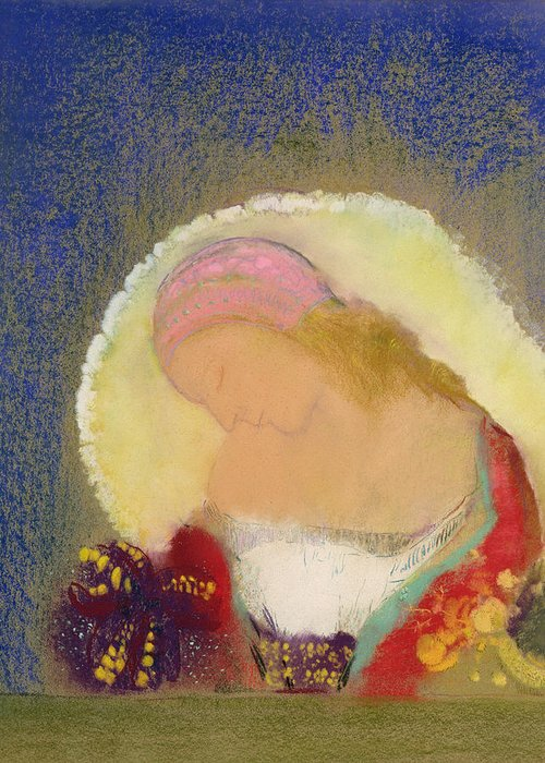 Flower; Hat; Cap; Fleur Illuminee; Symbolist Greeting Card featuring the painting Profile Of A Girl With Flowers by Odilon Redon