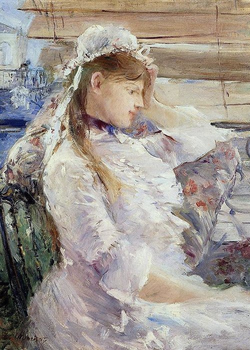 Female; Portrait; Half Length; White Dress; Gown; Impressionist; Outside; Bonnet; Frills; Frilly Greeting Card featuring the painting Profile Of A Seated Young Woman by Berthe Morisot