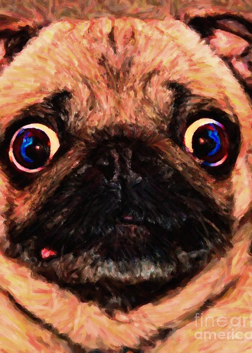Animal Greeting Card featuring the photograph Pug Dog - Painterly by Wingsdomain Art and Photography