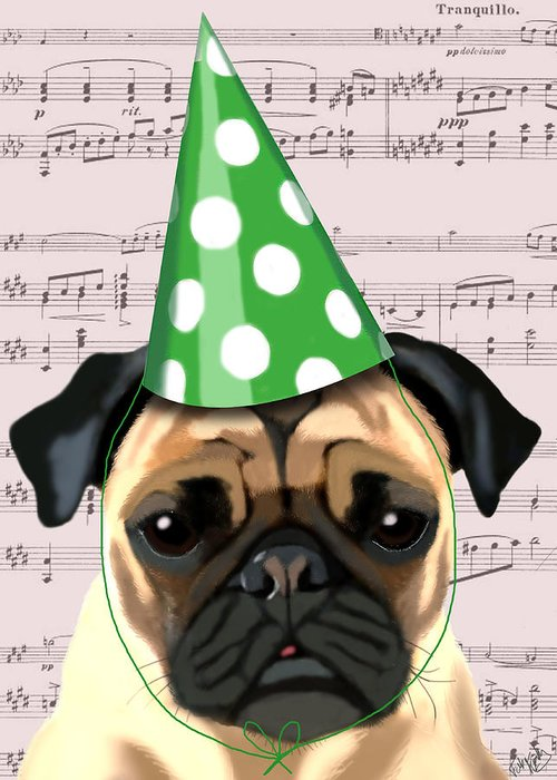 Pug Framed Prints Greeting Card featuring the digital art Pug In A Party Hat by Kelly McLaughlan