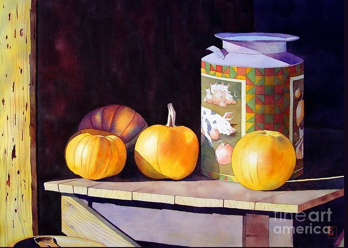 Watercolor Greeting Card featuring the painting Pumpkiins At Collier Farm by Robert Hooper