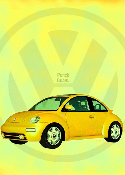 Punch Buggy Greeting Card featuring the digital art Punch Buggy by Bob Orsillo