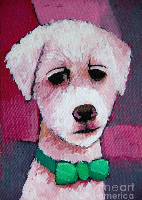 Dog Greeting Card featuring the painting Puppy by Lutz Baar