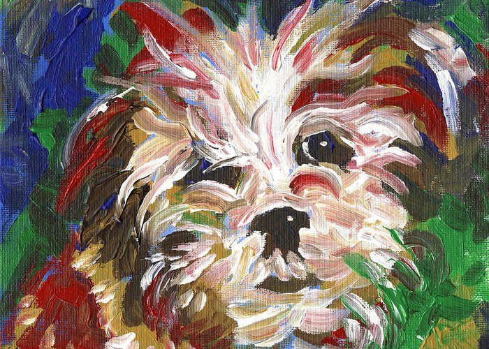 Puppy Greeting Card featuring the painting Puppy Spirit 101 by Linda Mears