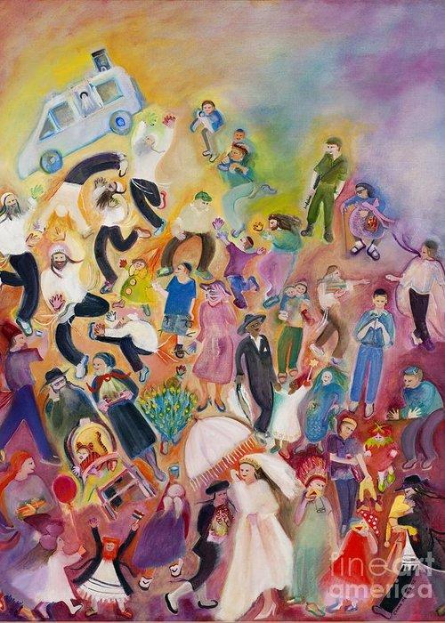 Purim Greeting Card featuring the painting Purim by Chana Helen Rosenberg