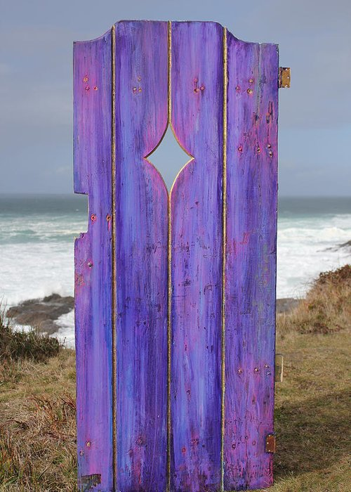 Painted Garden Gate Greeting Card featuring the painting Purple Gateway To The Sea by Asha Carolyn Young