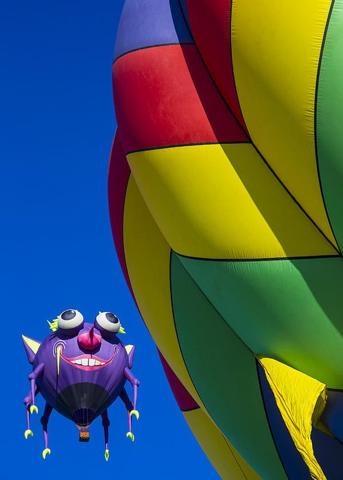 Purple People Eater Hot Air Balloon Greeting Card featuring the photograph Purple People Eater Smiling by Garry Gay