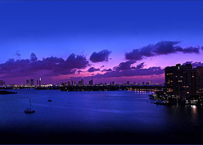 Panorama Greeting Card featuring the photograph Purple Sunset by Michael Guirguis