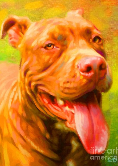 Dog Paintings Greeting Card featuring the painting Pit Bull Portrait by Iain McDonald