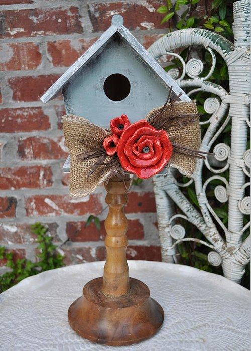 Wood Bird House Greeting Card featuring the sculpture Put On A Pedestal by Amanda Sanford