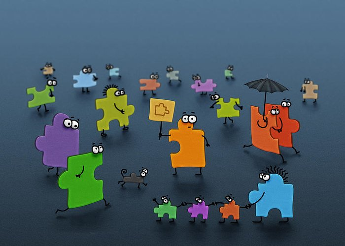Abstract Greeting Card featuring the drawing Puzzle Family by Gianfranco Weiss